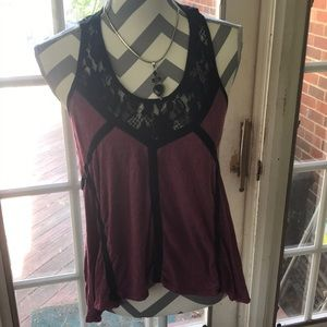 High-low t-Shirt Tank with Lace